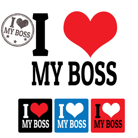 I love My boss sign and labels on white background, vector illustration Vector