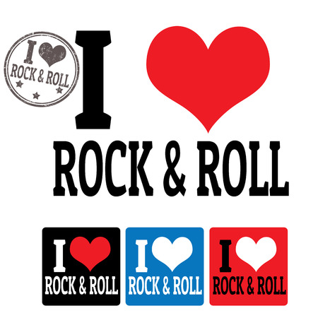 I love Rock and roll sign and labels on white background, vector illustration Vector