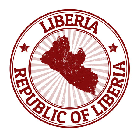 liberia: Grunge rubber stamp with the name and map of Liberia, vector illustration Illustration