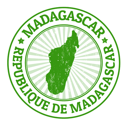 Grunge rubber stamp with the name and map of Madagascar, vector illustration