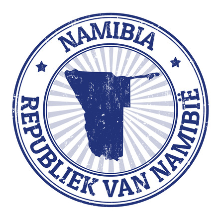 namibia: Grunge rubber stamp with the name and map of Namibia, vector illustration