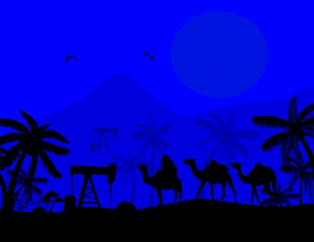 Oil Pump and camel caravan on blue sunset, vector illustration Vector