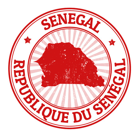 senegal: Grunge rubber stamp with the name and map of Senegal, vector illustration Illustration