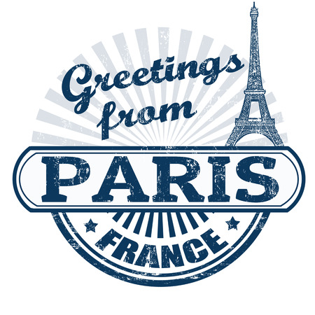 france stamp: Grunge rubber stamp with text Greetings from Paris, vector illustration
