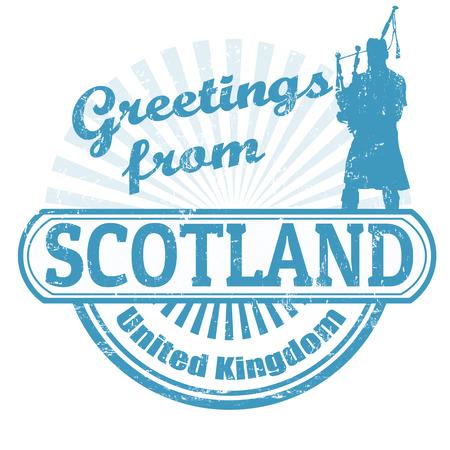 Grunge sello de goma con el texto saludos de Escocia, ilustración vectorial