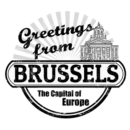 Grunge rubber stamp with text Greetings from Brussels, vector illustration Vector