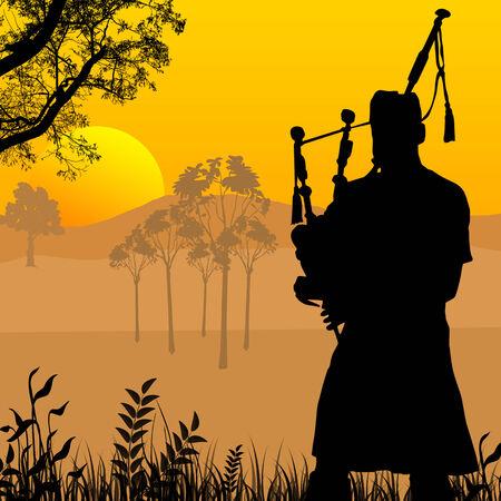 Silhouette de joueur de cornemuse sur le magnifique coucher du soleil, illustration vectorielle