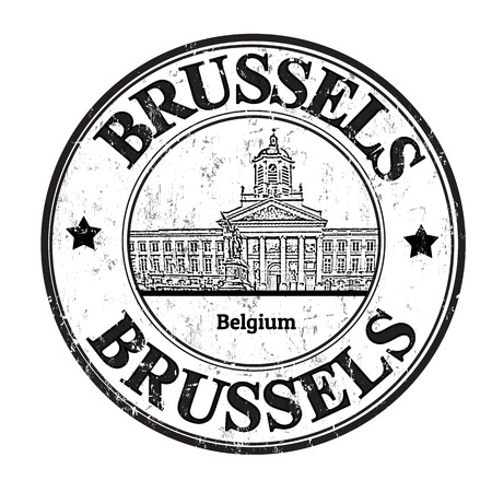 Grunge rubber stamp with the word Brussels, Belgium inside, vector illustration Vector