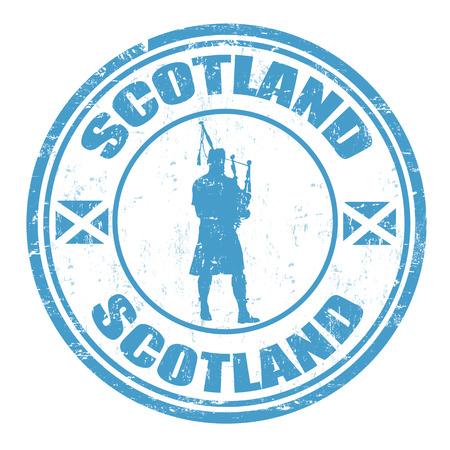 Azul grunge sello de goma con la silueta del hombre tocando la gaita y el nombre de Escocia por escrito en el interior, ilustración vectorial