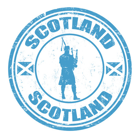Blue grunge rubber stamp with man silhouette playing the bagpipes and the name of Scotland written inside, vector illustration Иллюстрация