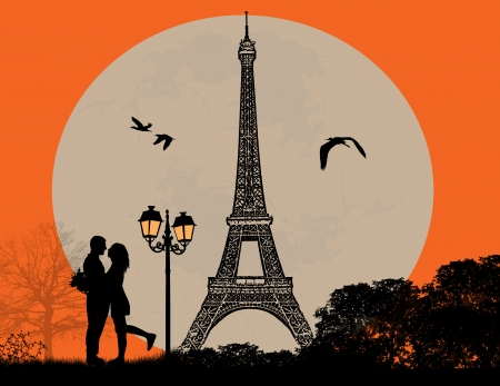 couples outdoors: Lovers in Paris on sunset background, vector illustration Illustration
