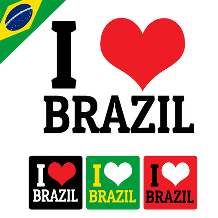I love Brazil sign and labels on white background, vector illustration Vector