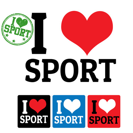 I love Sport sign and labels on white background, vector illustration Vector
