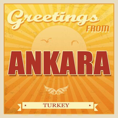 Vintage Touristic Greeting Card - Ankara, Turkey, vector illustration Vector