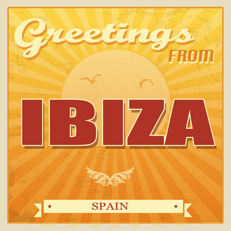 ibiza: Vintage Touristic Greeting Card - Ibiza, Spain, vector illustration