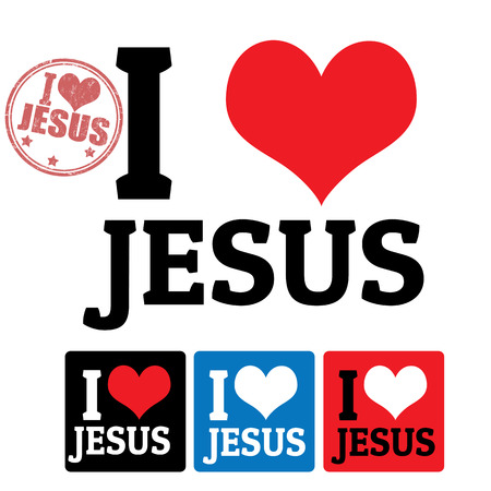 christ church: I love Jesus sign and labels on white background, vector illustration Illustration