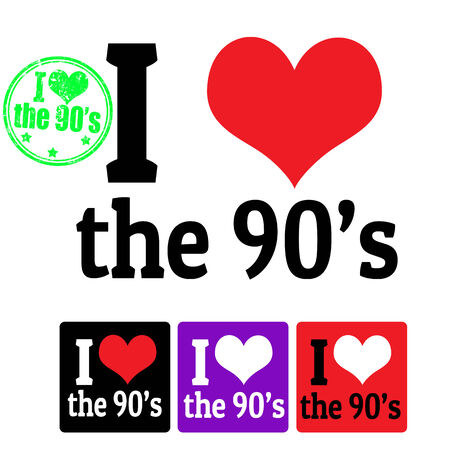 90: I love the 90s sign and labels on white background, vector illustration