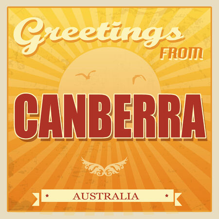 ecard: Vintage Touristic Greeting Card - Canberra, Australia, vector illustration