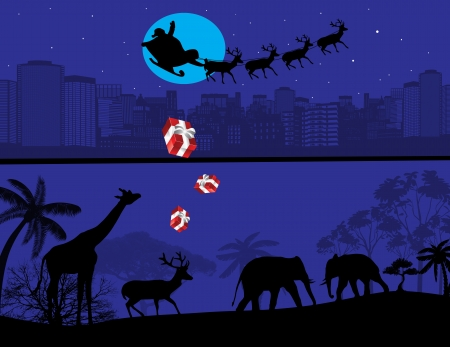 Santa Claus and his reindeer sleigh backlit by the full moon.  Vector