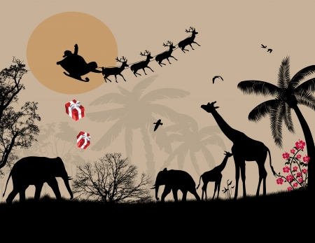giraffes: Santa Claus in Africa - silhouettes of wild animals and flying Santa on sunset, vector background