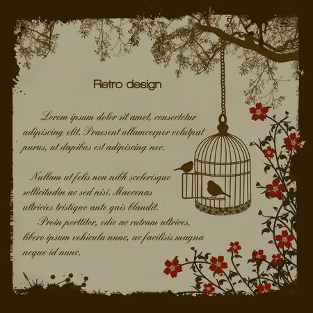 bird cage: Vintage Bird Cage Retro Poster, vector illustration