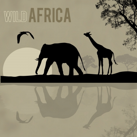 Giraffe and elephant silhouettes in Africa wild nature landscape, vector illustration  Vector