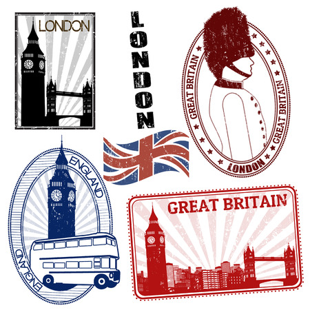 Set of grunge British themed stamps with various monuments, vector illustration Stock Vector - 22817971