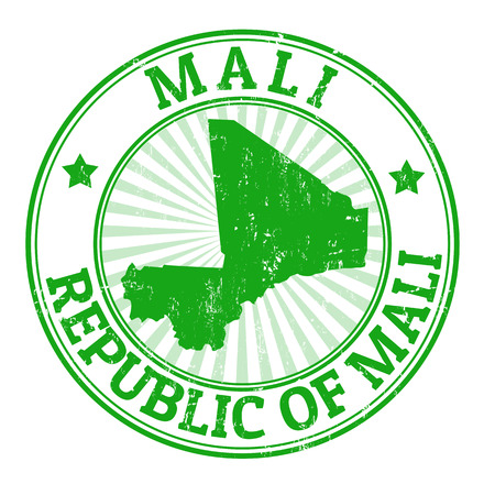 mali: Grunge rubber stamp with the name and map of Mali, vector illustration