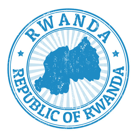 Grunge rubber stamp with the name and map of Rwanda, vector illustration Illustration