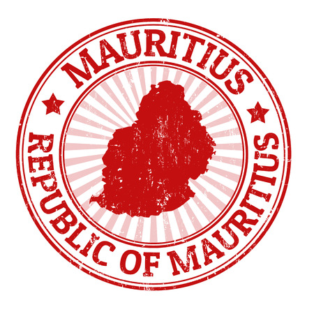 Grunge rubber stamp with the name and map of Mauritius, vector illustration