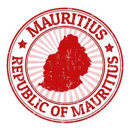 Grunge rubber stempel met de naam en de kaart van Mauritius, vector illustratie Stock Illustratie