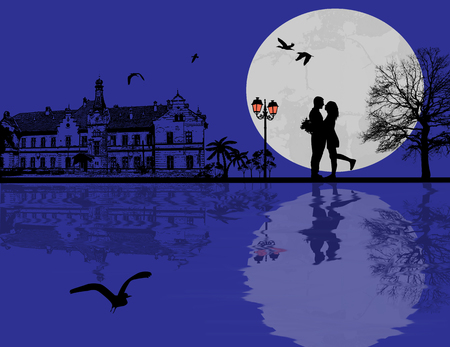 Lovers in the city at blue night, vector illustration Vector