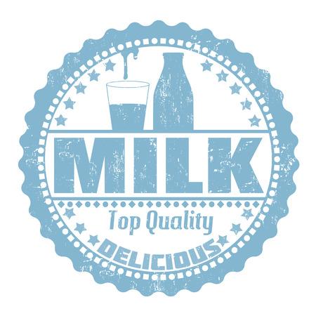seasoned: Milk grunge rubber stamp on white, vector illustration