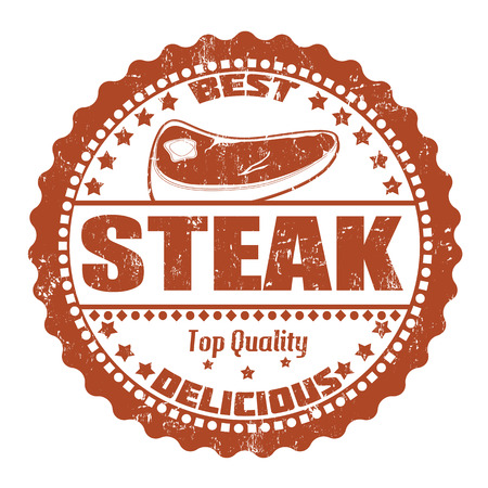 prime: Steak grunge rubber stamp on white, vector illustration