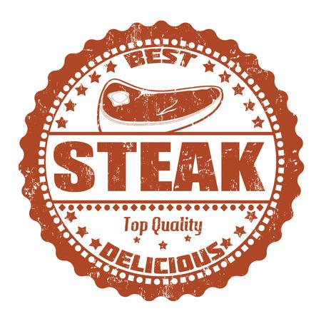 bistecche: Timbro di gomma Steak grunge su bianco, illustrazione vettoriale