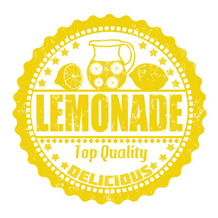 Lemonade grunge rubber stamp on white, vector illustration Çizim