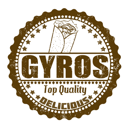 Gyros grunge rubber stamp on white, vector illustration Vector