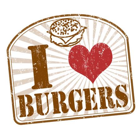sello de goma: Me encanta hamburguesas grunge sello de goma en blanco, ilustraci�n vectorial Vectores