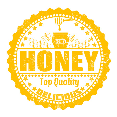 Honey grunge rubber stamp on white, vector illustration