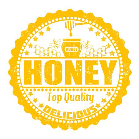 qualify: Honey grunge rubber stamp on white, vector illustration