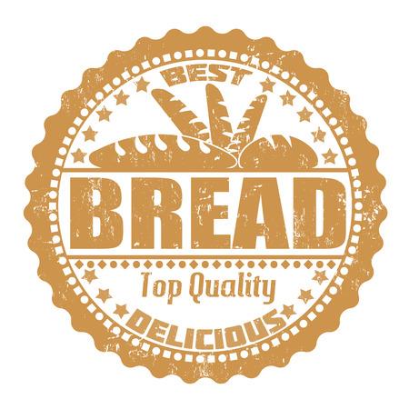 Bread grunge rubber stamp on white, vector illustration Ilustração