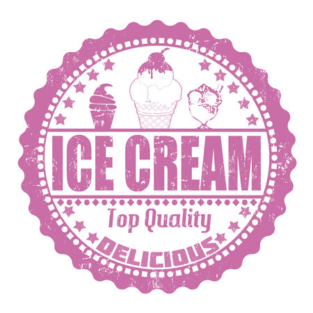 Ice cream grunge rubber stamp on white, vector illustration Vector