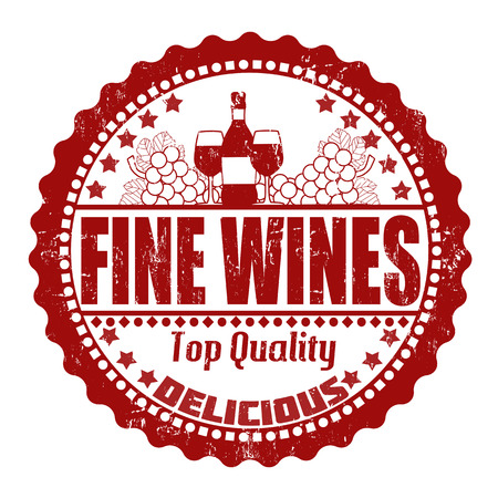 blanc: Fine wines grunge rubber stamp on white, vector illustration