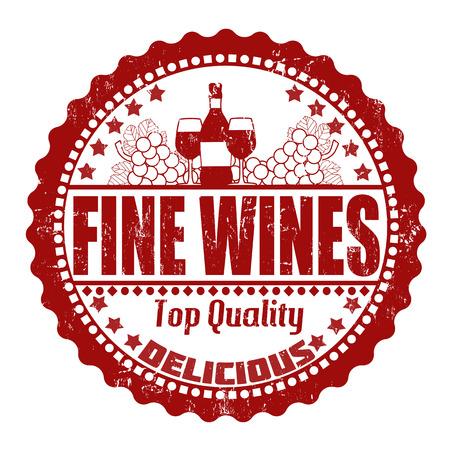 blanc: Los vinos finos grunge sello de goma en blanco, ilustraci�n vectorial