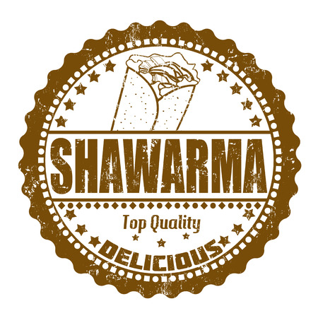 Shawarma grunge rubber stamp on white, vector illustration Vector