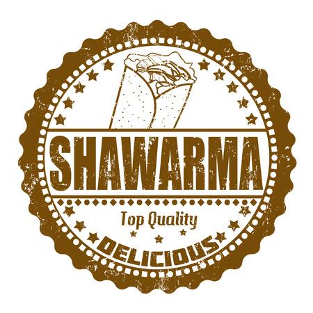 comida arabe: Shawarma grunge sello de goma en blanco, ilustración vectorial