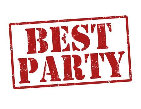 best party: Miglior partito grunge timbro di gomma su bianco, illustrazione vettoriale