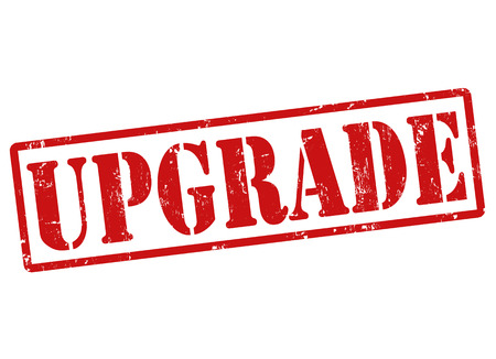 widening: Upgrade grunge rubber stamp on white, vector illustration Illustration