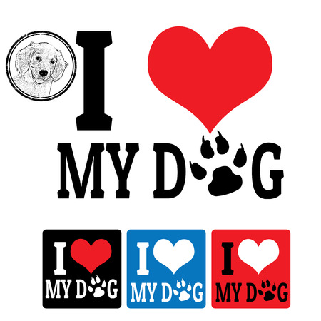 I love My Dog sign and labels on white background, vector illustration Vector