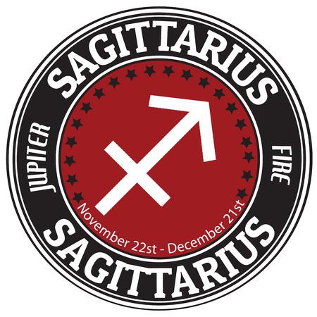 Sagittarius zodiac astrology label photo
